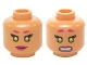 Part No: 3626cpb1363  Name: Minifig, Head Dual Sided Female Magenta Eyebrows and Lips, Lime Eyes, Smile / Clenched Pattern (Starfire) - Stud Recessed