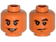 Part No: 3626cpb1381  Name: Minifig, Head Dual Sided Black Thick Eyebrows, Mouth and Chin Dimple, Open Smile / Raised Eyebrow Pattern (Dr. Wu) - Stud Recessed