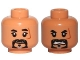 Part No: 3626cpb1656  Name: Minifig, Head Dual Sided Black-Gray Beard, Scar on Left Side, Close Mouth / Angry Pattern (SW Baze Malbus) - Stud Recessed