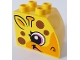 Part No: 11344pb007  Name: Duplo, Brick 2 x 3 x 2 with Curved Top with Brown Spots and Smiling Giraffe Face on Both Sides Pattern