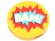 Part No: 14769pb168  Name: Tile, Round 2 x 2 with Bottom Stud Holder with 'BAM!' in Blue and Red Starburst Explosion Pattern