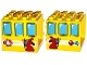 Part No: 18857pb01  Name: Duplo Building Door Frame 4 x 4 x 3 - Thin Top with Windows, Bunny / Rabbit Holding Crayons, Stop Sign and Horn Pattern on Both Sides