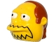 Part No: 19685pb01  Name: Minifigure, Head Modified Simpsons Comic Book Guy with Black Mouth Line and Dark Orange Hair Pattern