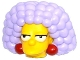 Part No: 19902c01pb01  Name: Minifigure, Head Modified Simpsons Selma with Dark Red Earrings and Lavender Hair Pattern