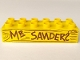 Part No: 2300pb009  Name: Duplo, Brick 2 x 6 with 'MR SANDERS' and Wood Grain Pattern