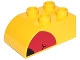 Part No: 2302pb11  Name: Duplo, Brick 2 x 3 with Curved Top and Red Beak with Black End Pattern on Both Sides