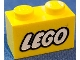 Part No: 3004pb007  Name: Brick 1 x 2 with Lego Logo Closed O Style White with Black Outline Pattern