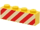 Part No: 3010p15  Name: Brick 1 x 4 with Red Danger Stripes on Printed White Background Pattern
