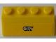 Part No: 3037pb037  Name: Slope 45 2 x 4 with White City Logo on Yellow Background Pattern (Sticker) - Set 60073