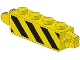 Part No: 30387p01  Name: Hinge Brick 1 x 4 Locking with Black and Yellow Danger Stripes Pattern on Both Sides