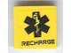 Part No: 3068bpb0404  Name: Tile 2 x 2 with Black EMT Star of Life and 'RECHARGE' Pattern (Sticker) - Set 7709
