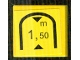 Part No: 3068bpb0869  Name: Tile 2 x 2 with Black Triangles and '1,50 m' Tunnel Low Clearance Warning Pattern (Sticker) - Set 8364