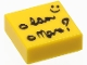 Part No: 3070bpb093  Name: Tile 1 x 1 with Groove with Cursive Writing Pattern