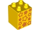 Part No: 31110pb070  Name: Duplo, Brick 2 x 2 x 2 with Orange Stars Pattern