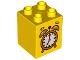 Part No: 31110pb092  Name: Duplo, Brick 2 x 2 x 2 with Alarm Clock Pattern