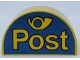 Part No: 31213pb008  Name: Duplo, Brick 2 x 4 x 2 Curved Top with 'Post' and Horn Yellow on Blue Background Pattern