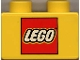 Part No: 3437pb002  Name: Duplo, Brick 2 x 2 with Lego Logo Pattern
