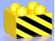 Part No: 3437pb024  Name: Duplo, Brick 2 x 2 with Black and Yellow Danger Stripes Pattern