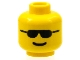 Part No: 3626bp04  Name: Minifig, Head Glasses with Black Sunglasses and Standard Grin Pattern - Blocked Open Stud