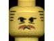Part No: 3626bpab  Name: Minifigure, Head Moustache Brown Bushy, Stubble, Under-Eyes Wrinkles, Stripe Sideburns Pattern - Blocked Open Stud