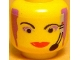 Part No: 3626bpb0007  Name: Minifigure, Head Female with Red Lips, Purple Hair and Headset, Wide Lips Pattern - Blocked Open Stud