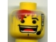 Part No: 3626bpb0013  Name: Minifigure, Head Male Huge Grin, Headset, Eyebrows Pattern (Flex) with Hair - Blocked Open Stud