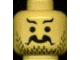 Part No: 3626bpb0018  Name: Minifigure, Head Moustache Curly and Split, Short Wavy Eyebrows, Stubble Pattern - Blocked Open Stud