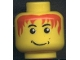 Part No: 3626bpb0050  Name: Minifigure, Head Male Messy Red Hair, Smile, White Pupils Pattern - Blocked Open Stud