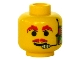 Part No: 3626bpb0057  Name: Minifigure, Head Moustache Red, Headset, Red Eyebrows Pattern - Blocked Open Stud