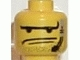 Part No: 3626bpb0058  Name: Minifigure, Head Male Long Eyebrows, 2 Lines Mouth, Stubble and Headset Pattern - Blocked Open Stud
