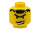 Part No: 3626bpb0060  Name: Minifigure, Head Male Scar Across Lip, Angry Black Eyebrows and Messy Hair Pattern (Dracus) - Blocked Open Stud