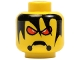 Part No: 3626bpb0092  Name: Minifigure, Head Alien with Red Eyes, Frown, and Messy Hair Pattern - Blocked Open Stud