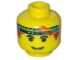 Part No: 3626bpb0100  Name: Minifigure, Head Male Headband Blue with Eyebrows Pattern - Blocked Open Stud