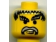 Part No: 3626bpb0101  Name: Minifigure, Head Moustache Gray Hair, and Eyebrows Pattern - Blocked Open Stud