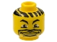 Part No: 3626bpb0117  Name: Minifigure, Head NBA with Lips and Goatee and Hair Stripes Pattern - Blocked Open Stud