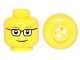 Part No: 3626bpb0122b  Name: Minifigure, Head Glasses Rectangular, Red Thin Eyebrows, Smile Pattern - Blocked Open Stud