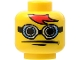 Part No: 3626bpb0124  Name: Minifigure, Head Glasses with Blue Goggles, Red Bangs Pattern - Blocked Open Stud