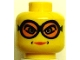 Part No: 3626bpb0126  Name: Minifigure, Head Female Glasses with Orange Goggles, Dimples around Lips Pattern - Blocked Open Stud