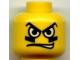 Part No: 3626bpb0163  Name: Minifigure, Head Male White Eyes, Black Eyegrease, Wavy Mouth Pattern - Blocked Open Stud