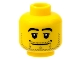 Part No: 3626bpb0173  Name: Minifigure, Head Beard Stubble, Black Eyebrows, Wide Mouth, White Pupils Pattern - Blocked Open Stud
