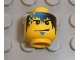 Part No: 3626bpb0232  Name: Minifigure, Head Male Smirk, Blue Goatee, Blue and Black Fade and Checks in Hair Pattern (Zed) - Blocked Open Stud