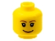 Part No: 3626bpb0242  Name: Minifigure, Head Female with Brown Thin Eyebrows, White Pupils, Short Eyelashes, Wide Smile with Pink Lips Pattern - Blocked Open Stud