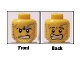 Part No: 3626bpb0372  Name: Minifigure, Head Dual Sided Power Miner Beard Stubble, Gray Smudge, Orange Scars, Determined / Alarmed Pattern - Blocked Open Stud