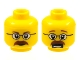 Part No: 3626bpb0404  Name: Minifig, Head Dual Sided Glasses, Brown Eyebrows and Moustache Closed Mouth / Open Mouth Scared Pattern - Blocked Open Stud