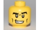 Part No: 3626bpb0466  Name: Minifigure, Head Male Black Thick Eyebrows, Cheek Lines and Furrowed Brow Pattern - Blocked Open Stud