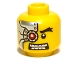 Part No: 3626bpb0506  Name: Minifigure, Head Alien with Mechanical Right Eye Red, Silver Head Plate Pattern - Blocked Open Stud