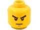 Part No: 3626bpb0521  Name: Minifigure, Head Male Stern Black Eyebrows, White Pupils, Thin Line Mouth Pattern - Blocked Open Stud
