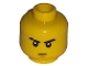 Part No: 3626bpb0524  Name: Minifigure, Head Male Stern Eyebrows (one Scarred), White Pupils, Brown Chin Dimple Pattern - Blocked Open Stud