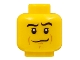 Part No: 3626bpb0530  Name: Minifigure, Head Male Crooked Smile, Black Eyebrows, White Pupils, Chin Dimple Pattern - Blocked Open Stud