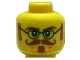 Part No: 3626bpb0531  Name: Minifigure, Head Glasses with Brown Sideburns, Moustache and White Pupils Pattern - Blocked Open Stud